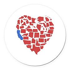 California Heart Round Car Magnet