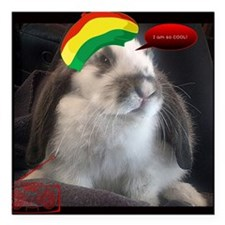 "Reggae Rabbit image Square Car Magnet 3"" x 3"""