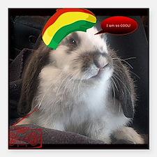 """Reggae Rabbit image Square Car Magnet 3"""" x 3"""""""