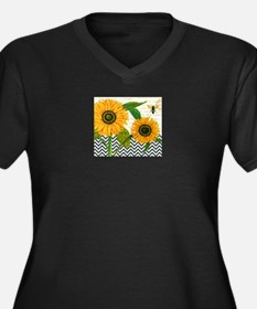 modern vintage sunflower Plus Size T-Shirt