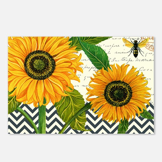 modern vintage sunflower Postcards (Package of 8)