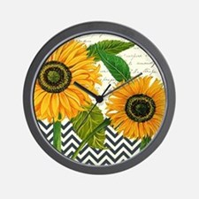 modern vintage sunflower Wall Clock