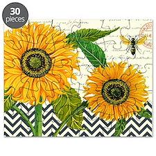 modern vintage sunflower Puzzle