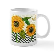 modern vintage sunflower Mugs