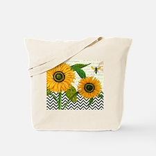modern vintage sunflower Tote Bag