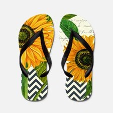 modern vintage sunflower Flip Flops