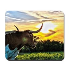 Illuminated Longhorn Sunset Mousepad