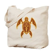 Intricate Golden Red Tribal Sea Turtle Tote Bag