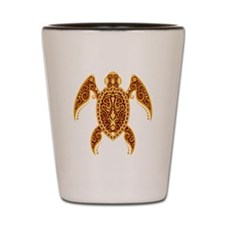 Intricate Golden Red Tribal Sea Turtle Shot Glass
