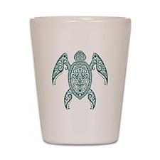 Intricate Teal Blue Tribal Sea Turtle Shot Glass