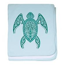 Intricate Teal Blue Tribal Sea Turtle baby blanket