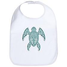 Intricate Teal Blue Tribal Sea Turtle Bib