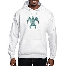 Intricate Teal Blue Tribal Sea Turtle Hoodie Sweat