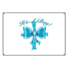 It's A Boy! Blue Silk Bow Banner