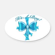 It's A Boy! Blue Silk Bow Oval Car Magnet