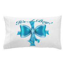 It's A Boy! Blue Silk Bow Pillow Case