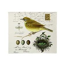 modern vintage french bird and nest Throw Blanket