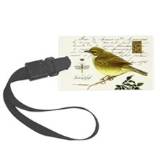 modern vintage french bird and nest Luggage Tag