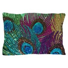 Colorful Peacock Feathers Pillow Case