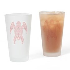 Intricate Pink Tribal Sea Turtle Drinking Glass