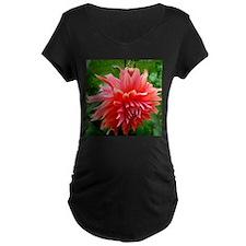 Deep Pink Dahlia Maternity T-Shirt