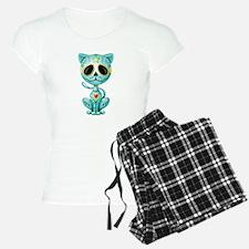 Blue Zombie Sugar Skull Kitten pajamas