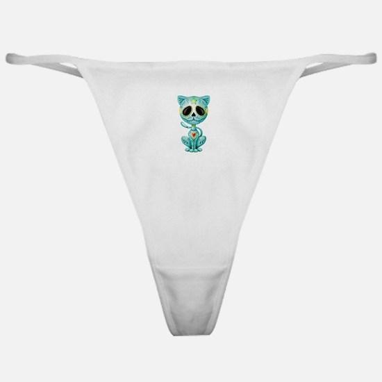 Blue Zombie Sugar Skull Kitten Classic Thong