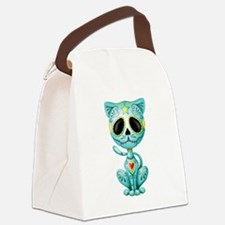 Blue Zombie Sugar Skull Kitten Canvas Lunch Bag
