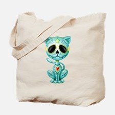 Blue Zombie Sugar Skull Kitten Tote Bag