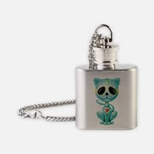 Blue Zombie Sugar Skull Kitten Flask Necklace