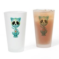 Blue Zombie Sugar Skull Kitten Drinking Glass