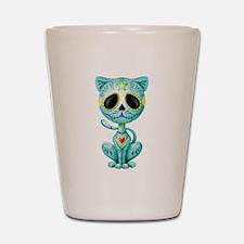 Blue Zombie Sugar Skull Kitten Shot Glass