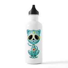 Blue Zombie Sugar Skull Kitten Water Bottle