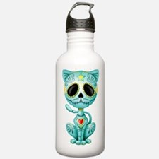 Blue Zombie Sugar Skull Kitten Water Bottle