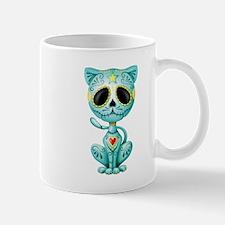 Blue Zombie Sugar Skull Kitten Mugs