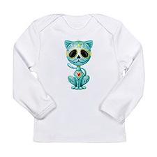 Blue Zombie Sugar Skull Kitten Long Sleeve T-Shirt