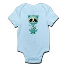 Blue Zombie Sugar Skull Kitten Body Suit