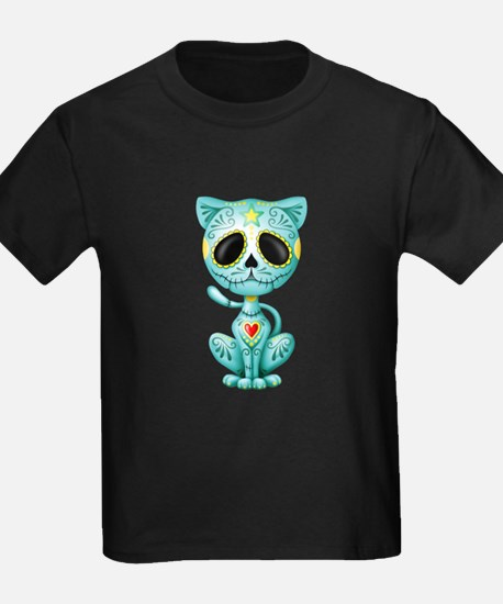 Blue Zombie Sugar Skull Kitten T-Shirt