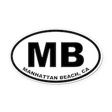 MB Manhattan Beach Oval Car Magnet