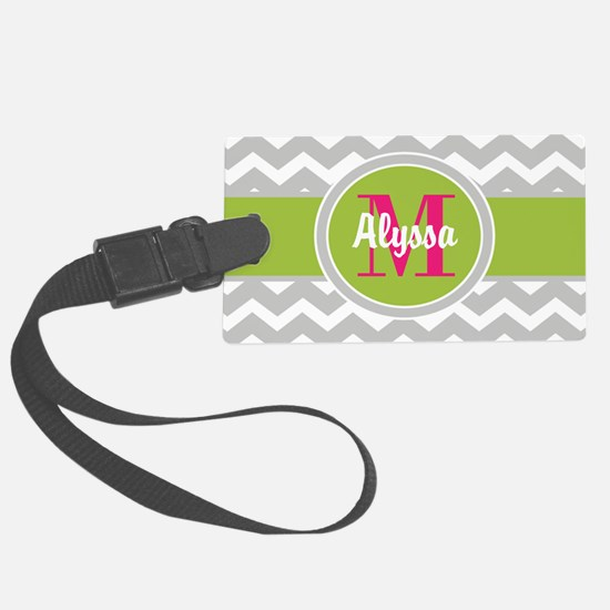 Gray Green Chevron Personalized Luggage Tag