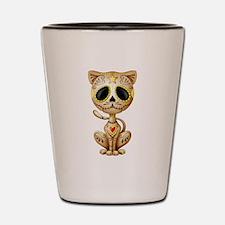 Brown Zombie Sugar Skull Kitten Shot Glass