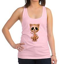 Brown Zombie Sugar Skull Kitten Racerback Tank Top