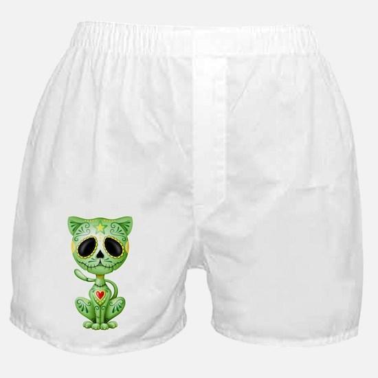 Green Zombie Sugar Skull Kitten Boxer Shorts