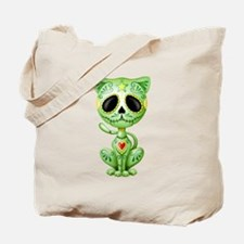 Green Zombie Sugar Skull Kitten Tote Bag