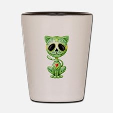 Green Zombie Sugar Skull Kitten Shot Glass