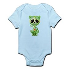 Green Zombie Sugar Skull Kitten Body Suit