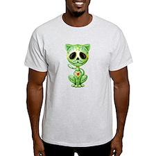 Green Zombie Sugar Skull Kitten T-Shirt