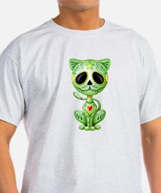 Green Zombie Sugar Skull Kitten T-Shirt