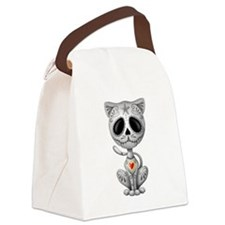 Gray Zombie Sugar Skull Kitten Canvas Lunch Bag