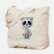 Gray Zombie Sugar Skull Kitten Tote Bag